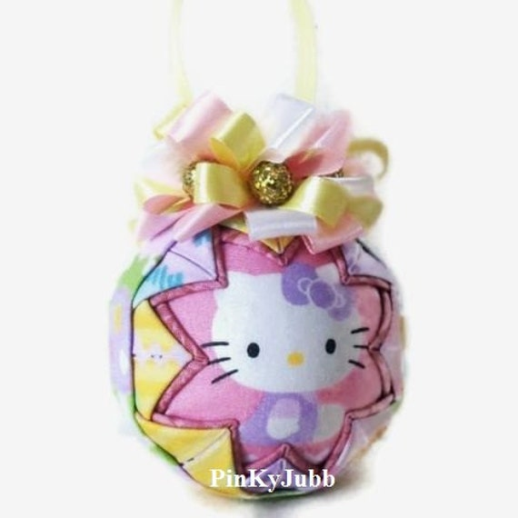 Hello kitty christmas quilted ornament new