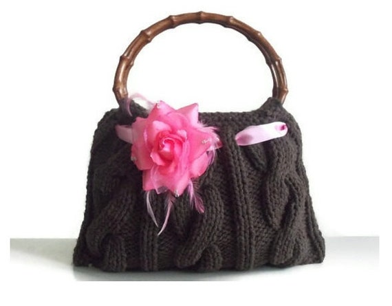 SALE SALE SALE coffee brown knitted handbag small with pink color flower bamboo handles