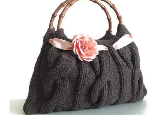 Cafe brown knitted JUBBJUBB handmade handbag with salmon color flower