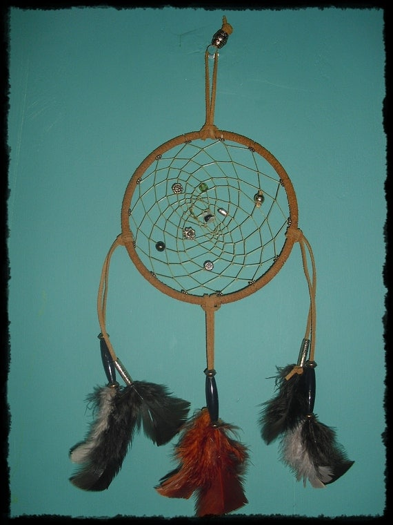 Tan 6 inch Dream Catcher with Protection Stones