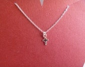 Sterling Silver Necklace with Tiny Sterling Silver Cross Charm