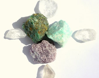 Brow, throat and heart Chakra, Lepidolite, Amazonite and Chrysocolla Good Vibrations Crystal Therapy Kit for Inspirational Expressions