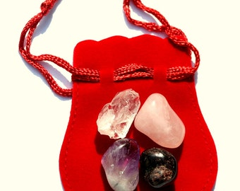 Rose Quartz, Red Garnet, Amethyst and Quartz Magical Mo Jo Pouch for Enlightened Love
