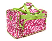 Personalized Hot Pink and Lime Damask Duffel Bag