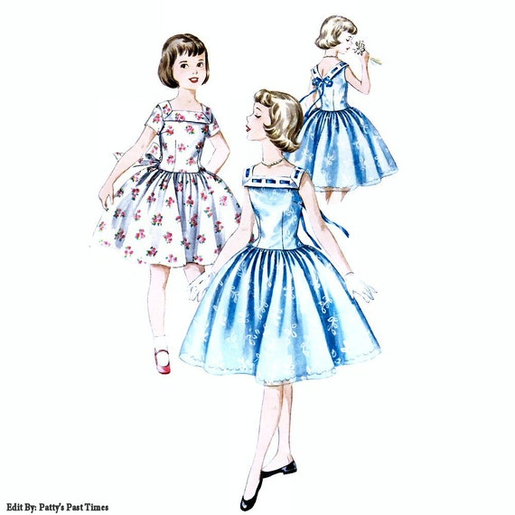 Girl size 12, vintage dress pattern, Simplicity 1633, 1956 rockabilly, fancy party dress pattern