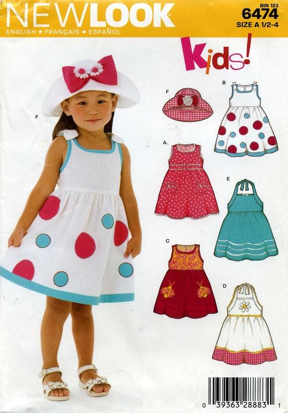 Summer Dress Pattern, Simplicity New Look 6474, Toddler Sizes 1/2 through 4