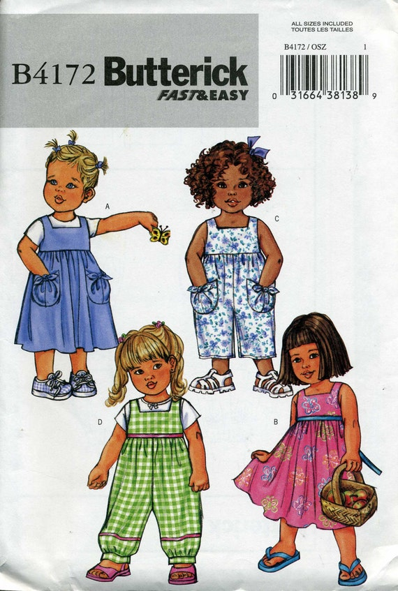 Toddler Dress, Jumper and Jumpsuit Pattern, Butterick B4172