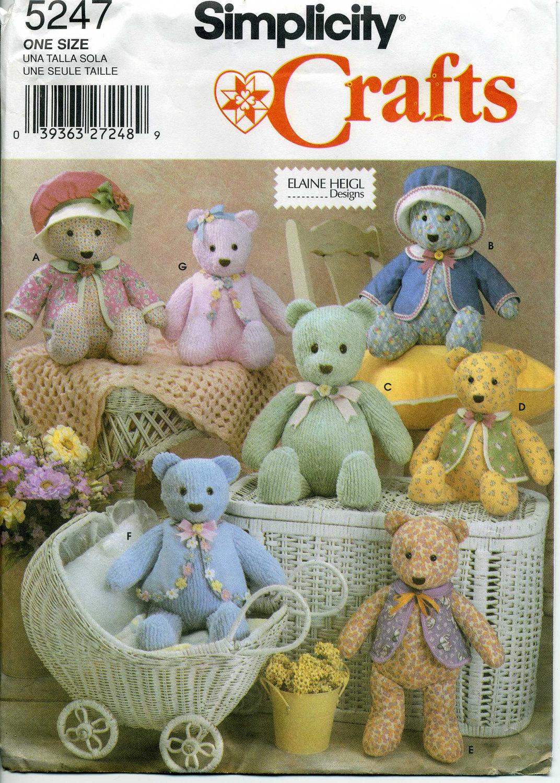 Plush Bear Pattern Simplicity 5247 Stuffed Bear Pattern For