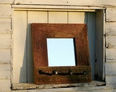 Railroad Spike Mirror: Made from antique barn wood and vintage railroad spikes