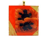 Gold Bail Resin Pendant Poppies-TAGT