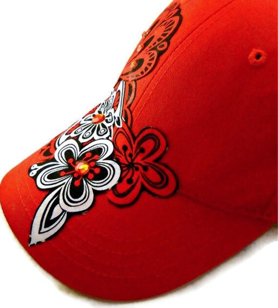 Women's Red Baseball Cap with Black, White & Gray Fabric Art and Bling - TAGT