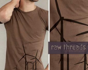 Tshirt Organic -- Wind Turbine on  Organic Bark Tee