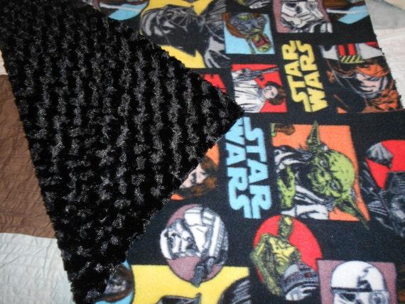 Handmade Baby Blanket Star Wars Fleece Super Plush Minky Black