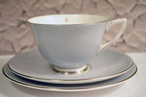 Vintage Royal Doulton Chateau Rose Pale Blue / Grey Teacup and Saucer Set