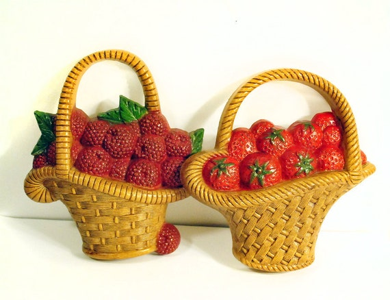 1970's Burwood Plastic Strawberry and Raspberry Basket Wall Hangings