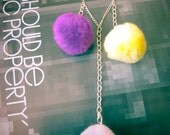 Pygmy Puff Necklace - Yellow and Purple