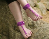 BAREFOOT SANDALS, Crochet, Purple Chic Nude Summer Shoes, Bohemian Foot Jewelry, Hippie Sandals, Beach Wedding, Cotton Anklets