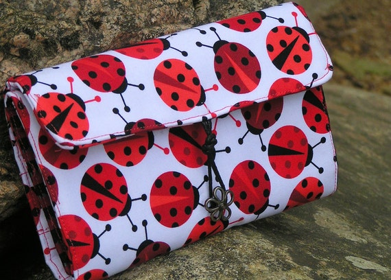 MAKEUP CASE, White, Red, Black Make Up Roll Bag, Wristlet Purse Cosmetics Organizer, Small Snap on Zipper Pouch, Ladybug