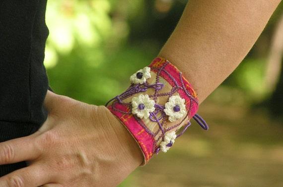 CUFF BRACELET, Boho Bracelet, Crochet Bohemian Bracelet, Hippie Cuff Bracelet, Womens Lace Up Bracelet, Pink, White, Cotton, Unique Design