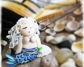 christmasinjuly Cute Little beach Brooch - Little Girl Mermaid Blonde - Polymar clay