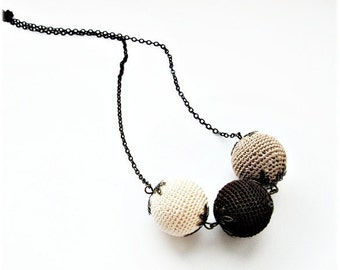 Boho Necklace, Ball Necklace, Beige Brown Coffee, Crochet necklace, Lariat, Gift for her, Everyday necklace