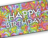 Printable Happy Birthday Card - Rainbow Colors, Hand-Drawn Abstract C02
