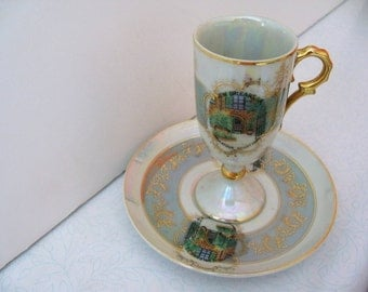 Vintage 60s Elegant Opalescent New Orleans Souvenir Demitasse Collectible Cup and Saucer