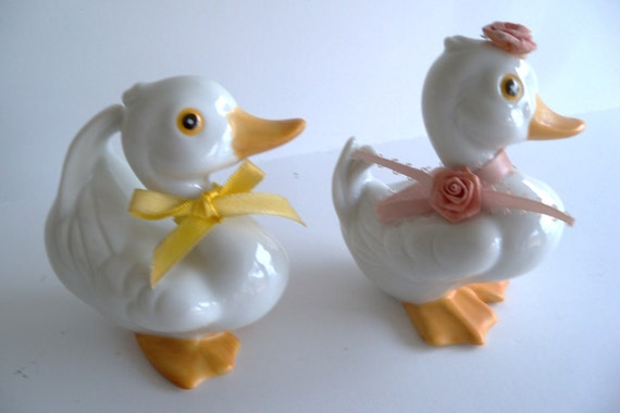 Easter Gift Basket Decor 2 Collectible White Porcelain China Woodland Boy and Girl Ducks by Homeco