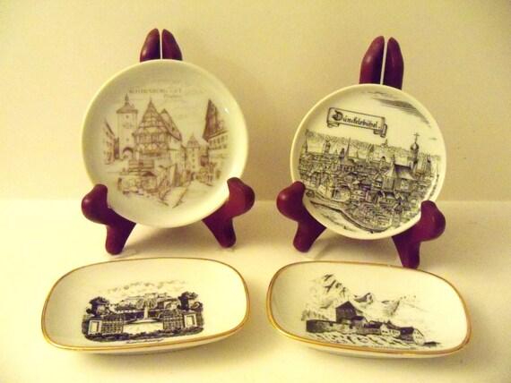 Four 1980's Vintage Collectible European Travel Souvenier Plates
