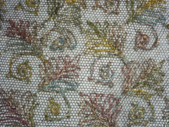 Vintage lovely embroidered silver metallic silk net panel lace sewing projects all over deco inspired design