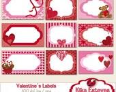 Romantic Labels - Digital Clipart / Scrapbooking Tags - card design, invitations, stickers, paper crafts, web design - INSTANT DOWNLOAD