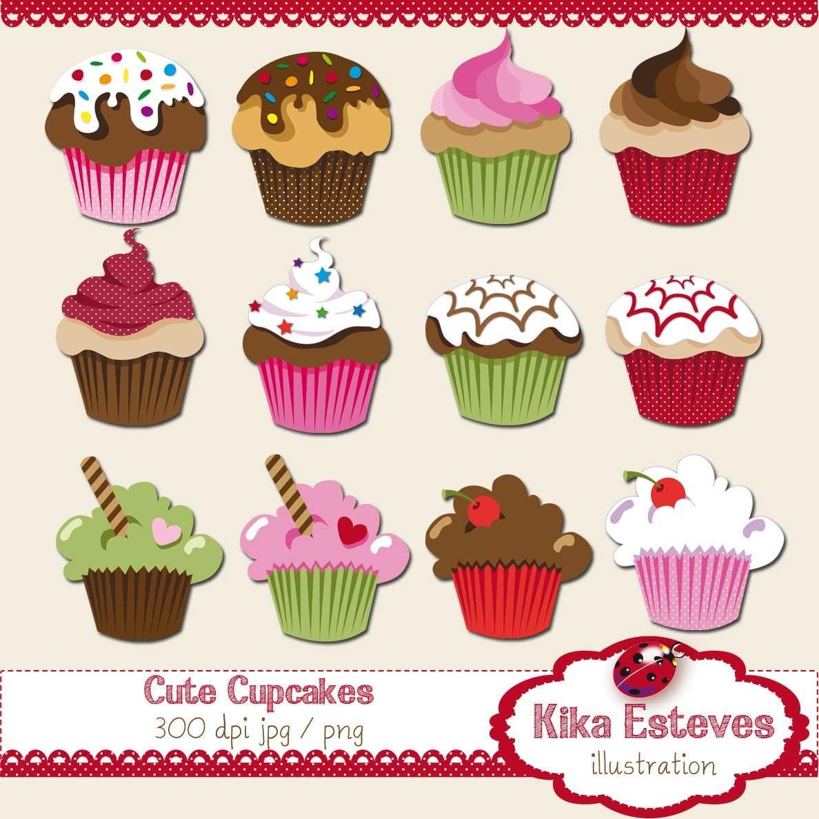 Cute Cupcakes Clipart / Cupcake Clip Art Scrapbook card