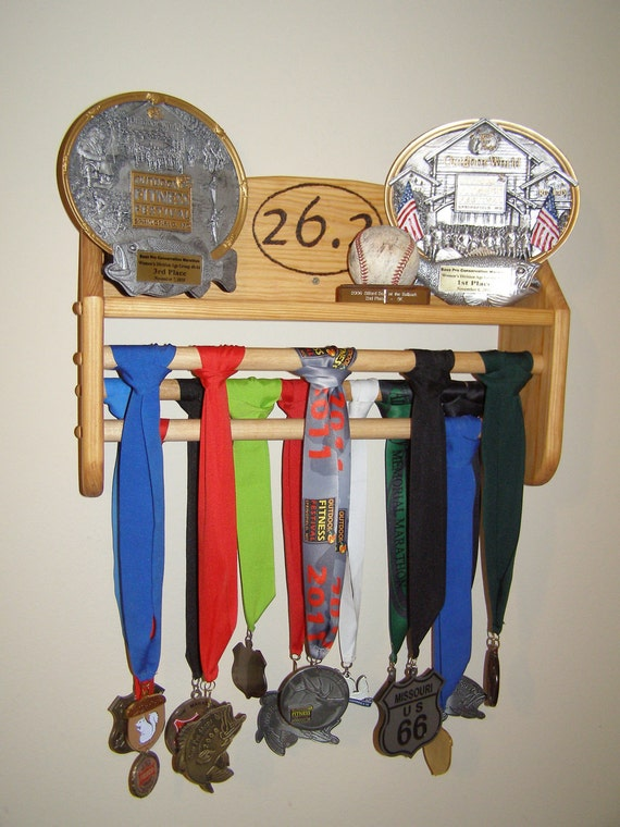 Items Similar To Running Trophy Medal Rack Stained W Logo