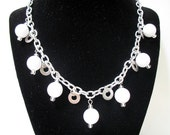 Statement Necklace - White and Silver Washer Necklace with Vintage Beads