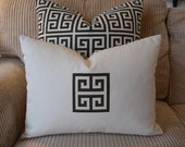 Greek key pillow cover. Brown greek key appliqued on cream cotton pillow cover - 14x18