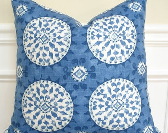 Suzani print pillow cover, blue and white pillow cover, beachy decor pillow cover, coastal pillow cover  20 x 20  As seen in Romantic Homes
