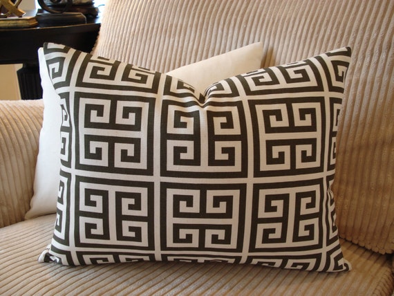 Pillow Cover Brown Greek Key Printed on Cream Lightweight Cotton Duck - 14x18