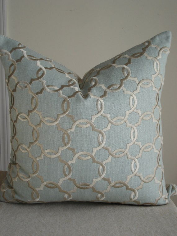 Spa blue linen pillow cover with beige embroidery - 18 x 18