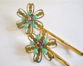 Hair Jewelry Vintage Green Gold Pink Findings  Bobby Pins