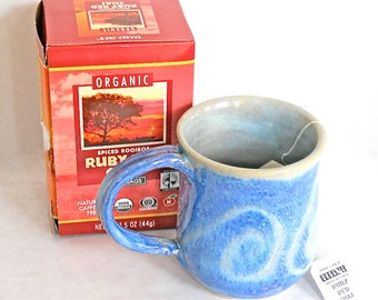 Blue Mug Swirl Design Coffee Tea Hot Coco Hand Made
