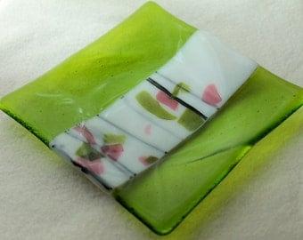 "Fused Glass Art Plate   ""Springtime Sonata 3"""