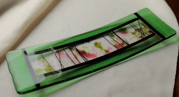 "Fused Glass Art Plate    ""Sushi Garden"""