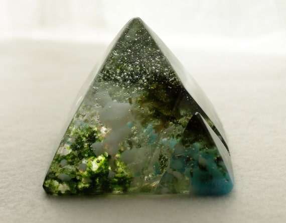 Business Card Holder - Office - Office Decor -Fused Glass - Pyramid - Fathers Day - 23
