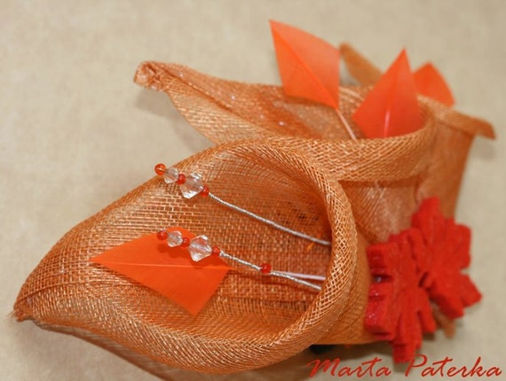 Orange Leaf and Lily Sinamay Fascinator Hat