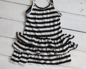 Girls Stripe Tank. Top. Shirt. Blue and White. Knit Nautical swim suit cover up