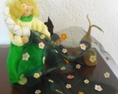 OOAK Waldorf nature table Lady Spring and her 2 bulb children