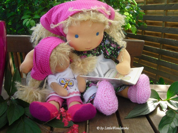 "OOAK Kim (16"") and Katie (11"") waldorf doll cloth doll human figure doll sisters"