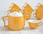 Reserved for Susan - Vintage Mid Century Teapot and Tea Cups - Modern, Retro, Kitchen, Coffee