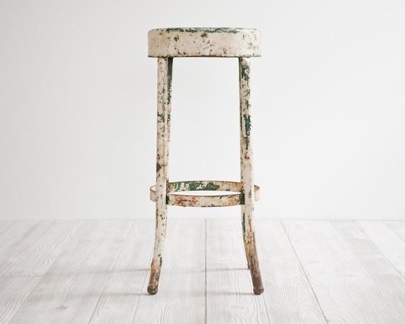 Vintage Industrial Stool, Metal, Chair, Rustic