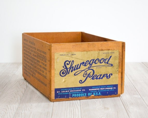 Vintage Fruit Crate Wood Box Storage